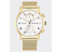 Vergoldete Armbanduhr mit Mesh-Armband