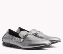Metallic Loafer mit Kettendetail