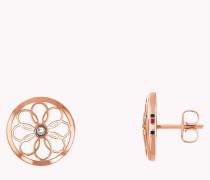 Roséfarbener Ohrstecker im floralen Design