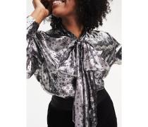 Zendaya Curve Metallic Bluse aus Seidenmix