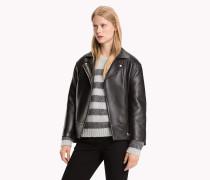 Oversized Biker-Jacke aus Leder