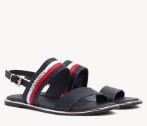 Flache Sandale mit Tommy-Streifen
