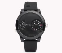 Denim Armbanduhr mit schwarzem Silikon