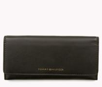 Schmale Brieftasche mit Lasche aus Glattleder