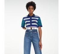 Gestreiftes Poloshirt mit Rippstrick-Kragen