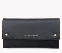 Große aufklappbare Brieftasche aus Leder