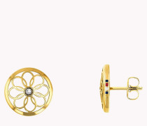 Goldfarbener Ohrstecker im Blütendesign
