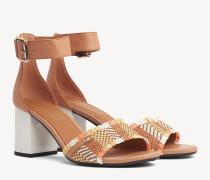 Sandale mit Blockabsatz und Fransen