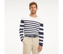 Rundhals-Pullover mit Breton-Streifen