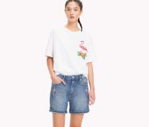 T-Shirt mit aufgesticktem Flamingo