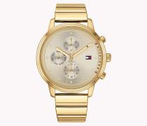 Goldbeschichtete Armbanduhr mit Gliederarmband