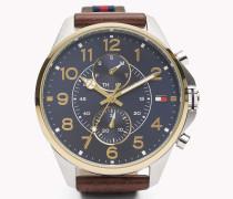 Multifunktionale Armbanduhr mit Lederarmband