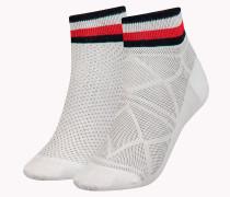 Doppelpack kurze Socken mit gestreiftem Bündchen
