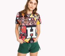 T-Shirt mit Hilfiger Multi-Logo-Print