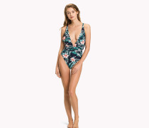 Neckholder-Badeanzug mit Hibiskus-Print