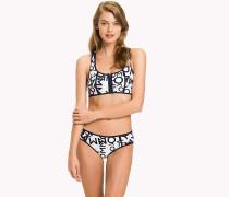 Bedrucktes Bikinioberteil mit Reißverschluss