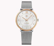 Uhr aus Edelstahl mit Mesh-Armband