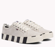 Gestreifter Platform-Sneaker aus Wildleder