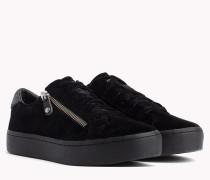 Samt-Sneaker mit Reißverschluss