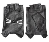 Fingerlose Leder-Handschuhe mit Applikation