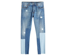 Cropped Straight Leg Jeans im Patchwork Look