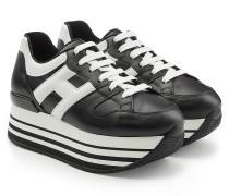 Plateau-Sneakers mit Leder