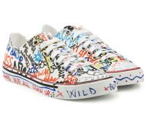 Bedruckte Low Top Sneakers Graffiti