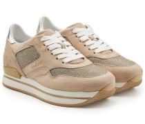 Plateau-Sneakers mit Veloursleder und Mesh