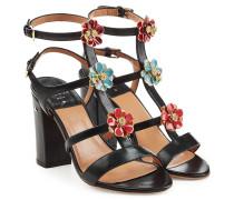 Sandalen aus Leder mit Blumen-Verzierung
