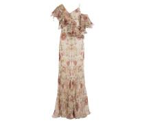 Asymmetrisches Volant-Kleid aus Seide