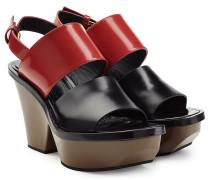 Plateau-Sandalen aus Leder im Color-Block-Look