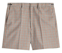 Karierte Shorts aus Wolle, Mohair und Seide