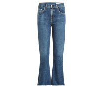 Cropped Flared Jeans mit Fransen