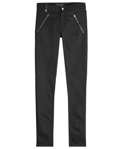 Biker-Jeans mit Leder-Details
