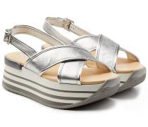 Plateau-Sandalen aus Lackleder mit Metallic-Finish