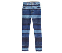 Cropped Jeans aus Baumwolle im Patchwork Look