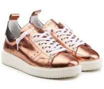 Leder-Sneakers in Metallic-Optik