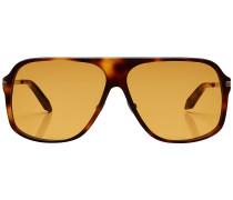 Eckige Sonnenbrille mit Schildpattmuster