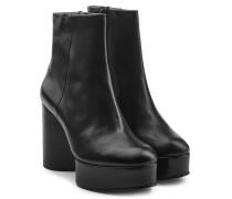Plateau-Boots aus Leder mit Block Heel