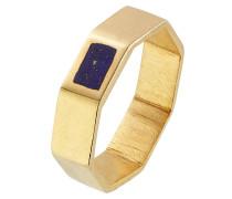 Vergoldeter Cocktail-Ring mit Lapis
