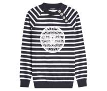 Gestreifter Pullover aus Baumwolle mit Logo-Print
