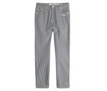Gestreifte Cropped Jeans mit Print