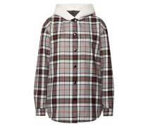 Karierte oversized Woll-Bluse mit Kapuze