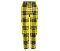 Karierte Pants aus Schurwolle mit Zippern