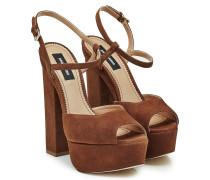 Block Heel Sandalen aus Veloursleder