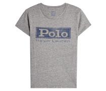 Bedrucktes T-Shirt aus Baumwolle mit Stickerei
