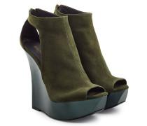 Open Toe Booties aus Leder mit Plateau