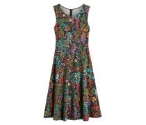 Bedrucktes Kleid aus Leinen und Seide
