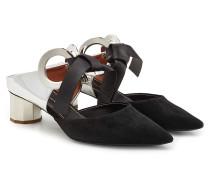 Mules aus Veloursleder und Leder mit Metall-Öse