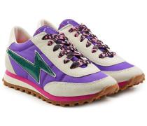 Sneakers mit Veloursleder und Textil